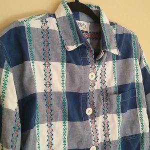 Erika Tops - Vintage Plaid Nordic Button Shirt Sz L
